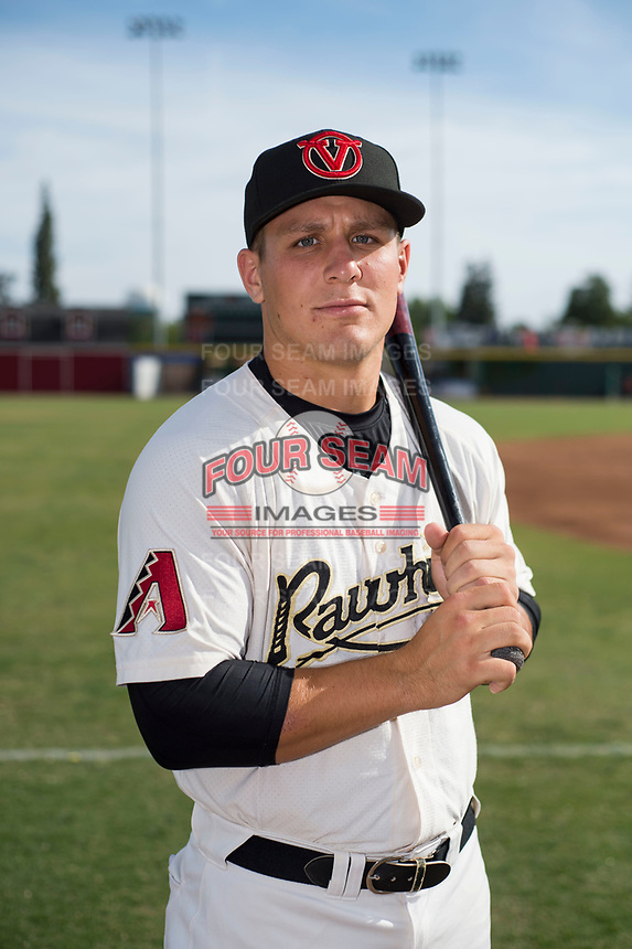 Visalia Rawhide catcher Daulton Varsho (9) poses for a photo before a California League game against the Stockton Ports at Visalia Recreation Ballpark on May 10, 2018 in Visalia, California. (Zachary Lucy/Four Seam Images via AP Images)
