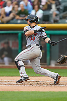 Christian Arroyo (34) of the Sacramento River Cats follows through on his swing against the Salt Lake Bees during the Pacific Coast League game at Smith's Ballpark on August 11, 2017 in Salt Lake City, Utah. The River Cats defeated the Bees 8-7. (Stephen Smith/Four Seam Images)