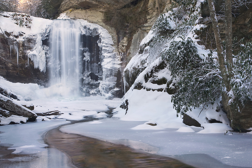 """LOOKING GLASS WINTER"" - A winter view of Looking Glass Falls near Brevard, North Carolina. A very cold day (~8° F) and plenty of fresh snow made for a unique perspective of this popular waterfall."