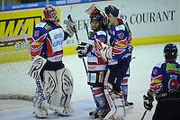 IJSHOCKEY: HEERENVEEN: IJsstadion Thialf, 02-02-2013, Eredivisie, UNIS Flyers - Amsterdam G's, Eindstand: 9-2, goalie Sjoerd Idzenga (#31 | Flyers), Jerry Pollastrone (#39 | Flyers), goalie Martijn Oosterwijk (#30 | Flyers), tevredenheid na afloop, ©foto Martin de Jong