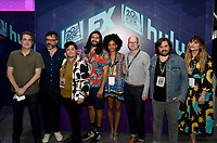 FX FEARLESS FORUM AT SAN DIEGO COMIC-CON© 2019: L-R: Executive Producer Paul Simms, Cast Member/Director/Writer/Producer Jemaine Clement, Cast Members Harvey Guillén, Kayvan Novak, Writer/Co-Executive Producer Stefani Robinson, and Cast Members Mark Proksch, Matt Berry and Natasia Demetriou during the WHAT WE DO IN THE SHADOWS booth signing on Saturday, July 20 at SAN DIEGO COMIC-CON© 2019. CR: Alan Hess/FX/PictureGroup © 2019 FX Networks
