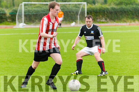 In Action Mastergeeha's David  Kelly and Windmill'sEoin Sayers in the  Denny Division 1B Mastergeeha B v Windmill United at Mounthawk park on Monday