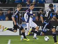 March 3rd, 2013: Luis Gil tries dribbles the ball away from Sam Cronin and Jason Hernandez at Buck Shaw Stadium, Santa Clara, Ca.  Salt Lake Real defeated San Jose Earthquakes