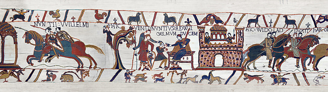 Scene 11-12 of the Bayeux Tapestry  - Armoured soldiers are sent to Beaurain and William gives orders to messengers.