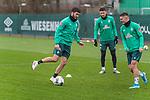 17.01.2020, Trainingsgelaende am wohninvest WESERSTADION,, Bremen, GER, 1.FBL, Werder Bremen Training ,<br /> <br /> <br />  im Bild<br /> Nuri Sahin (Werder Bremen #17)<br /> Milos Veljkovic (Werder Bremen #13)<br /> Milot Rashica (Werder Bremen #07)<br /> <br /> <br /> Foto © nordphoto / Kokenge
