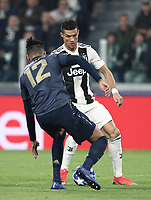 Football Soccer: UEFA Champions League -Group Stage-  Group H - Juventus vs Manchester United, Allianz Stadium. Turin, Italy, November 07, 2018.<br /> Juventus' Cristiano Ronaldo (r) in action with Manchester United's Chris Smalling (l) during the Uefa Champions League football soccer match between Juventus and Manchester United at Allianz Stadium in Turin, November 07, 2018.<br /> UPDATE IMAGES PRESS