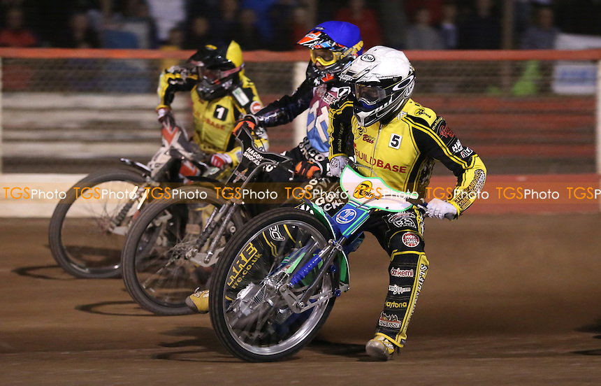 Heat 15: Hans Andersen (white), Andreas Jonsson (blue) and Chris Harris (yellow) - Lakeside Hammers vs Coventry Bees, Elite League Speedway at the Arena Essex Raceway, Pufleet - 27/07/15 - MANDATORY CREDIT: Rob Newell/TGSPHOTO - Self billing applies where appropriate - 0845 094 6026 - contact@tgsphoto.co.uk - NO UNPAID USE