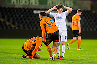 Daniel James of Swansea City  looks dejected during the Checkatrade 3rd round match between Swansea City U21's and Wolverhampton Wonderers U21's at the Liberty Stadium, Swansea on Tuesday January 10 2017