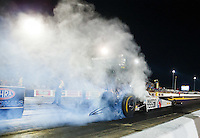 Jul 8, 2016; Joliet, IL, USA; NHRA top fuel driver Antron Brown does a burnout during qualifying for the Route 66 Nationals at Route 66 Raceway. Mandatory Credit: Mark J. Rebilas-USA TODAY Sports