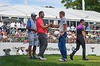 Jon Rahm (ESP) shakes hands with Brandt Snedeker (USA) following Rd4 of the 2019 BMW Championship, Medinah Golf Club, Chicago, Illinois, USA. 8/18/2019.<br /> Picture Ken Murray / Golffile.ie<br /> <br /> All photo usage must carry mandatory copyright credit (© Golffile | Ken Murray)