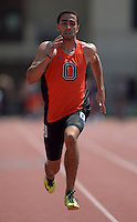 Apr 11, 2015; Los Angeles, CA, USA; Jeh Johnson of Occidental College places fifth in the 100m in 11.06 in a SCIAC multi dual meet at Occidental College. Photo by Kirby Lee