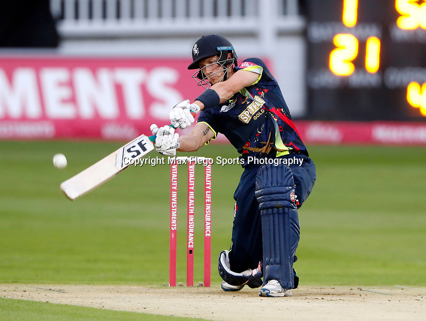 Joe Denly hits out for Kent during the Vitality Blast T20 game between Kent Spitfires and Somerset at the St Lawrence Ground, Canterbury, on Thur Aug 16, 2018