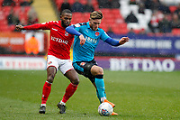 Wes Burns of Fleetwood Town on the ball during the Sky Bet League 1 match between Charlton Athletic and Fleetwood Town at The Valley, London, England on 17 March 2018. Photo by Carlton Myrie.