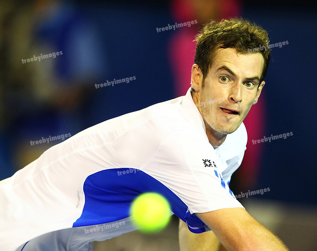 280110.Australian Open tennis 2010.Day 11, Andy Murray of Great Britain in action during the Semi Final against Marin Cilic of Croatia.Photo: Grant Treeby...