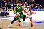 Real Madrid's Dontaye Draper and Darussafaka Dogus's Scottie Wilbekin during quarter final of Turkish Airlines Euroleague match between Real Madrid and Darussafaka Dogus at Wizink Center in Madrid, April 20, 2017. Spain.<br /> (ALTERPHOTOS/BorjaB.Hojas)