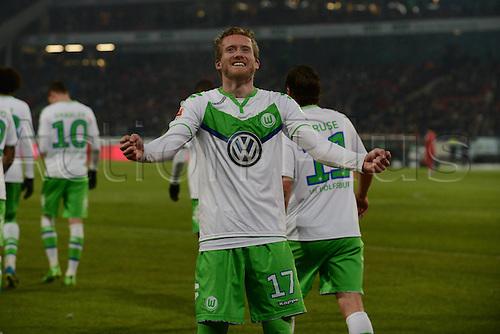 01.03.2016. Hannover, Germany. Bundesliga Football Hannover 96 versus VfL Wolfsburg.   Hattrick, for 0:3 from Andre Schurrle (VFL Wolfsburg)