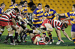 Andrew Van der Heijden goes to ground after tripping over Kristian Ormsby. Counties Manukau Steelers vs Bay of Plenty Steamers warm up game played at Mt Smart Stadium on 14th of July 2006. Counties Manukau won 25 - 20.