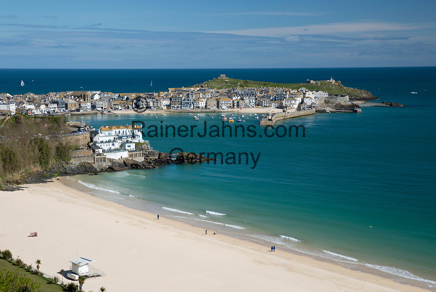 United Kingdom, England, Cornwall, St Ives: Porthminster beach and harbour | Grossbritannien, England, Cornwall, St Ives: Porthminster beach und Hafen