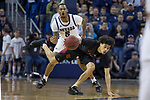 San Diego State guard Trey Pulliam (4) keeps his balance       against Nevada during the second half of a basketball game played at Lawlor Events Center in Reno, Nev., Saturday, Feb. 29, 2020. (AP Photo/Tom R. Smedes)