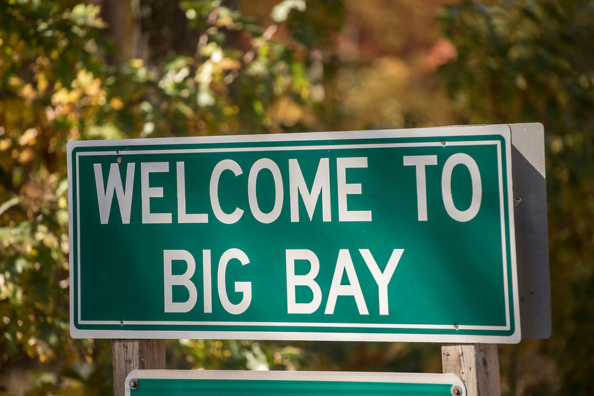 Sign for Big Bay, Michigan along Country Road 550.