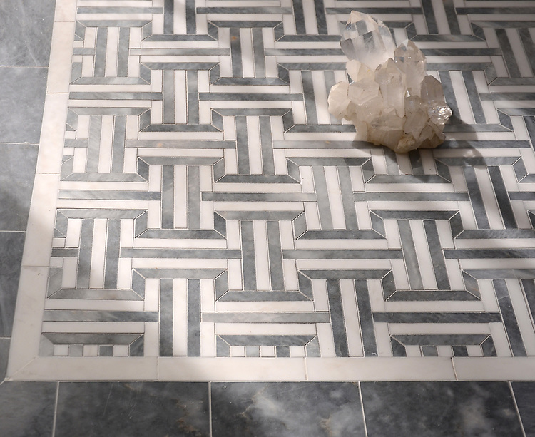 Gaston, a handmade mosaic shown in polished Dolomite and Allure, with Allure Bricks, is part of the Illusions® collection by New Ravenna.
