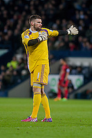 WEST BROMWICH, ENGLAND - FEBRUARY 11: Ben Foster of West Bromwich Albion keeps warm  during the Premier League match between West Bromwich Albion and Swansea City at The Hawthorns on February 11, 2015 in West Bromwich, England. (Photo by Athena Pictures/Getty Images)
