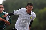 Palos Verdes, CA 02/07/12 - Kyle Perebowow (Peninsula #25) in action during the Mira Costa vs Peninsula Boys Varsity soccer bay league game.