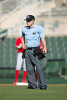 Home plate umpire Aaron Schorch during the South Atlantic League game between the Lakewood BlueClaws and the Kannapolis Intimidators at Kannapolis Intimidators Stadium on April 9, 2017 in Kannapolis, North Carolina.  The BlueClaws defeated the Intimidators 7-1.  (Brian Westerholt/Four Seam Images)