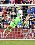 USA goalkeeper Alyssa Naeher leaps in vain as Japan scores their second goal of the game,l the second of two Tournament of Nations games at Children's Mercy Park in Kansas City, Kansas on July 26, 2018.<br /> Photo by Tim Vizer