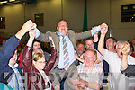 Fine Fa?il's Tom Fleming is raised to the roof after being elected at the Kerry County Council Killarney area election count in the Aura Sports Centre in Killarney on Saturday