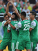 New York Cosmos teammates celebrate after a goal by No. 18 Juan Arango (arms raised) ties the score 1-1 during the first half of an NASL match against the Carolina RailHawks at Hofstra University on Saturday, Aug. 27, 2016. Arango scored the first two Cosmos goals and was named Man of the Match in the club's 6-1 win.