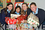 SHOEBOXES: Four of the pupils of Boueenshire National getting their shoesboxes ready for collection in aid of Christmas Child on Monday at their school, l-r: Sarah Corridan, Michelle O'Halloran, Emma O'Connor and Conor Faye. .   Copyright Kerry's Eye 2008