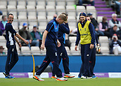 29th September 2017, Ageas Bowl, Southampton, England; One Day International Series, England versus West Indies; Joe Root of England (right) shares a joke during a football warm up