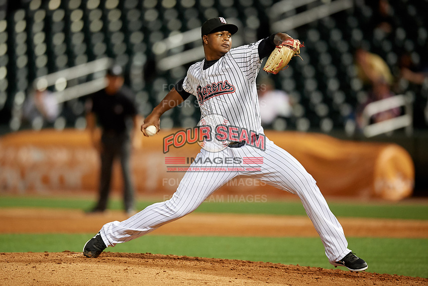 Birmingham Barons relief pitcher Mauricio Cabrera (22) during a Southern League game against the Chattanooga Lookouts on May 1, 2019 at Regions Field in Birmingham, Alabama.  Chattanooga defeated Birmingham 5-0.  (Mike Janes/Four Seam Images)