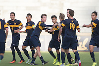 BERKELEY, CA - Oct. 13, 2016: The Cal soccer team celebrates after Joshua Craig Morton scored a goal.  Cal Men's Soccer played UCLA on Goldman Field at Edwards Stadium.