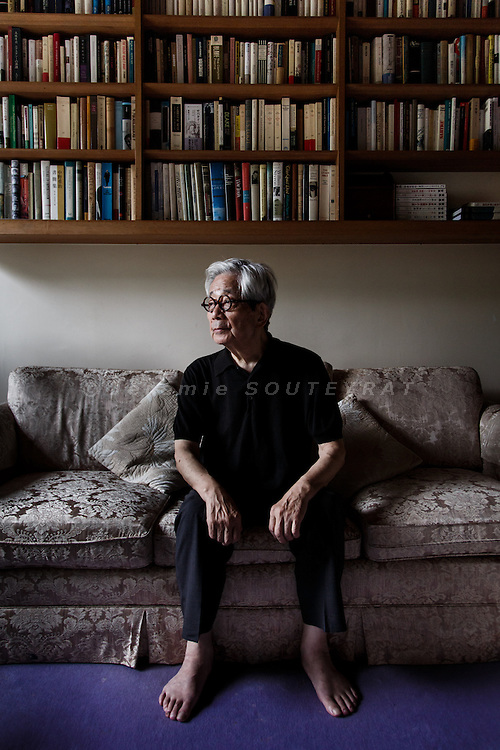Tokyo, September 25 2013 - Portrait of Japanese writer Kenzaburo Oe at his house in eastern Tokyo.