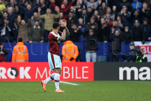 27.02.2016. Macron Stadium, Bolton, England. Skybet Championship. Bolton versus Burnley.<br /> Double goalscorer Andre Gray of Burnley  leaves the pitch to the applause of the visiting fans