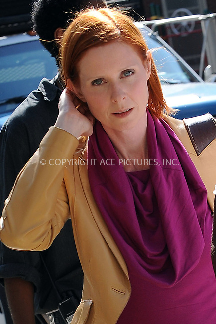 WWW.ACEPIXS.COM . . . . . ....September 2 2009, New York City....Actress Cynthia Nixon on the Upper East Side set of the new movie 'Sex and The City 2' on September 2 2009 in New York City....Please byline: KRISTIN CALLAHAN - ACEPIXS.COM.. . . . . . ..Ace Pictures, Inc:  ..tel: (212) 243 8787 or (646) 769 0430..e-mail: info@acepixs.com..web: http://www.acepixs.com