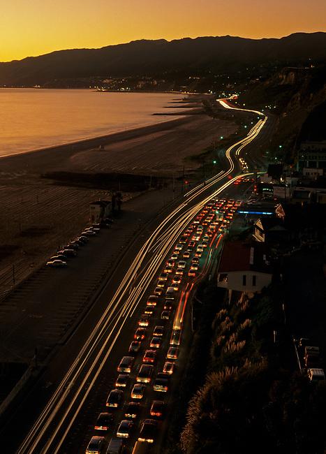 Pacific Coast Highway at Santa Monica at sunset.