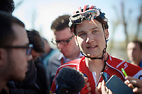 Tim Wellens (BEL/Lotto-Soudal) interviewed post-race after yet another (fruitless) attack in the final kilometers before the finish<br /> <br /> Fl&egrave;che Wallonne 2016