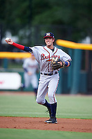 Mississippi Braves shortstop Dansby Swanson (36) throws to first during a game against the Jacksonville Suns on May 1, 2016 at The Baseball Grounds in Jacksonville, Florida.  Jacksonville defeated Mississippi 3-1.  (Mike Janes/Four Seam Images)