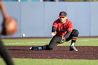 Rutgers Scarlet Knights third baseman Carmen Sclafani (19) fields a ground ball against the Michigan Wolverines on April 26, 2019 in the NCAA baseball game at Ray Fisher Stadium in Ann Arbor, Michigan. Michigan defeated Rutgers 8-3. (Andrew Woolley/Four Seam Images)
