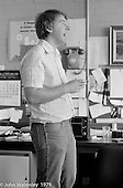 Colin Bryce, Head of the Art Dept, Wester Hailes Education Centre, Wester Hailes, Scotland, 1979.  John Walmsley was Photographer in Residence at the Education Centre for three weeks in 1979.  The Education Centre was, at the time, Scotland's largest purpose built community High School open all day every day for all ages from primary to adults.  The town of Wester Hailes, a few miles to the south west of Edinburgh, was built in the early 1970s mostly of blocks of flats and high rises.