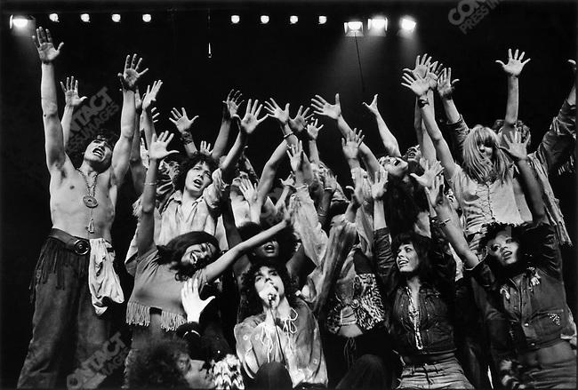 """Julien Clerc and the cast of """"Hair"""", Theatre de la Porte Saint Martin, Paris, France, May 1969"""