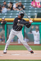 Franchy Cordero (10) of the El Paso Chihuahuas bats against the Salt Lake Bees in Pacific Coast League action at Smith's Ballpark on May 1, 2017 in Salt Lake City, Utah. Salt Lake defeated El Paso 9-4.  (Stephen Smith/Four Seam Images)