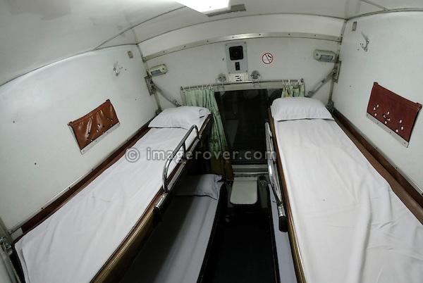 Asia, Vietnam, Ho Chi Minh City (Saigon). Sleeping compartment on the overnight train from Ho Chi Minh City to Nha Trang.