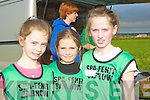 RELAY: Sarah Fitzgerald, Grace Tobin and Diana Nagle fropm the Spa/Fenit and Barrow AC who ran in the 100 metres race at the Cross Country in Ardfert on Sunday...