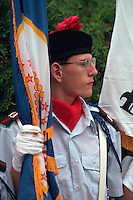 Color guard 18 holding flag at Vietnam Wall on Memorial day. St Paul Minnesota USA