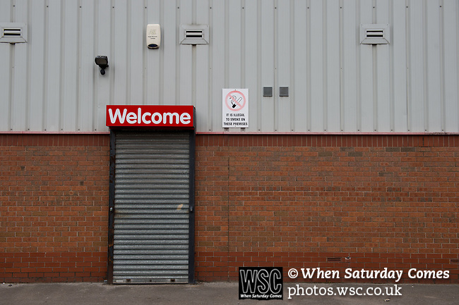 Walsall 1 Chelsea 4, 23/09/2015. Bescot Stadium, Capital One Cup Third Round. League One Walsall host struggling Premier League Chelsea. After drawing the Londoners, Saddlers supporters sold out the Bescot Stadium hoping for an upset. The match was watched by 10,525. The entrance to the family stand. Photos by Simon Gill.