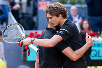 Austrian Dominic Thiem and German Alexander Zverev during Finals of Mutua Madrid Open at Caja Magica in Madrid, Spain. May 13, 2018. (ALTERPHOTOS/Borja B.Hojas)